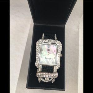 VICTORIA WIECK Crystal Watch Black Hinged Cuff